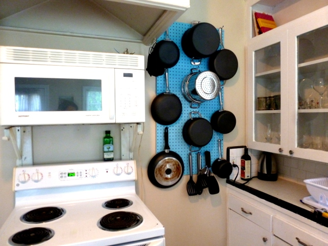 The best part are the pans are right by the stove so I can easily grab what I need and see what I have whenever I'm cooking.  Since John and I both love cooking this has been wonderful for us.