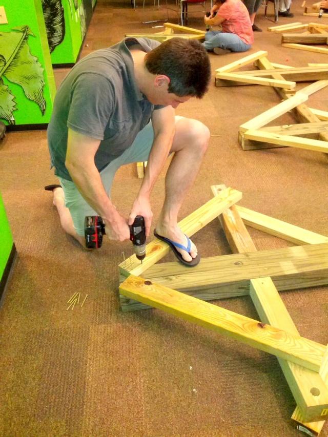 John building the frame
